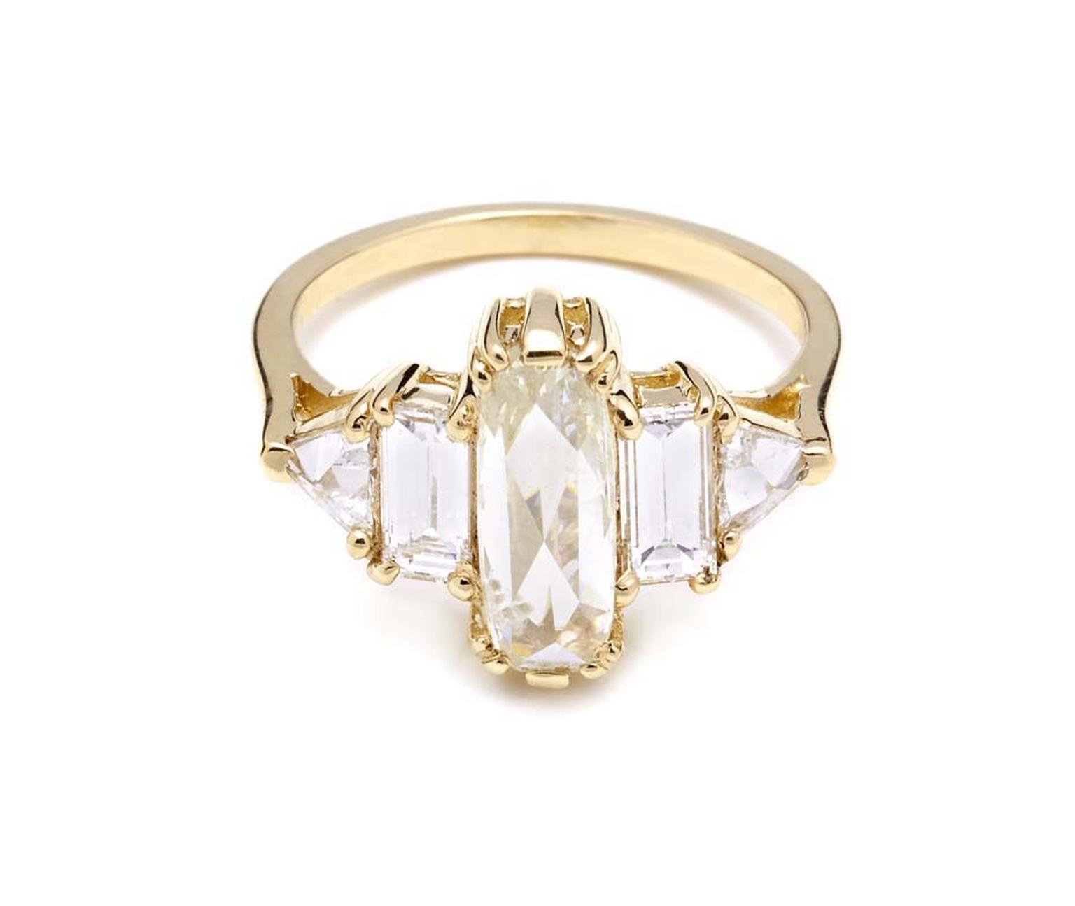 Anna Sheffield Theda diamond engagement ring, with a central elongated rose-cut pale yellow diamond flanked by four white diamonds in yellow gold (£9,378).