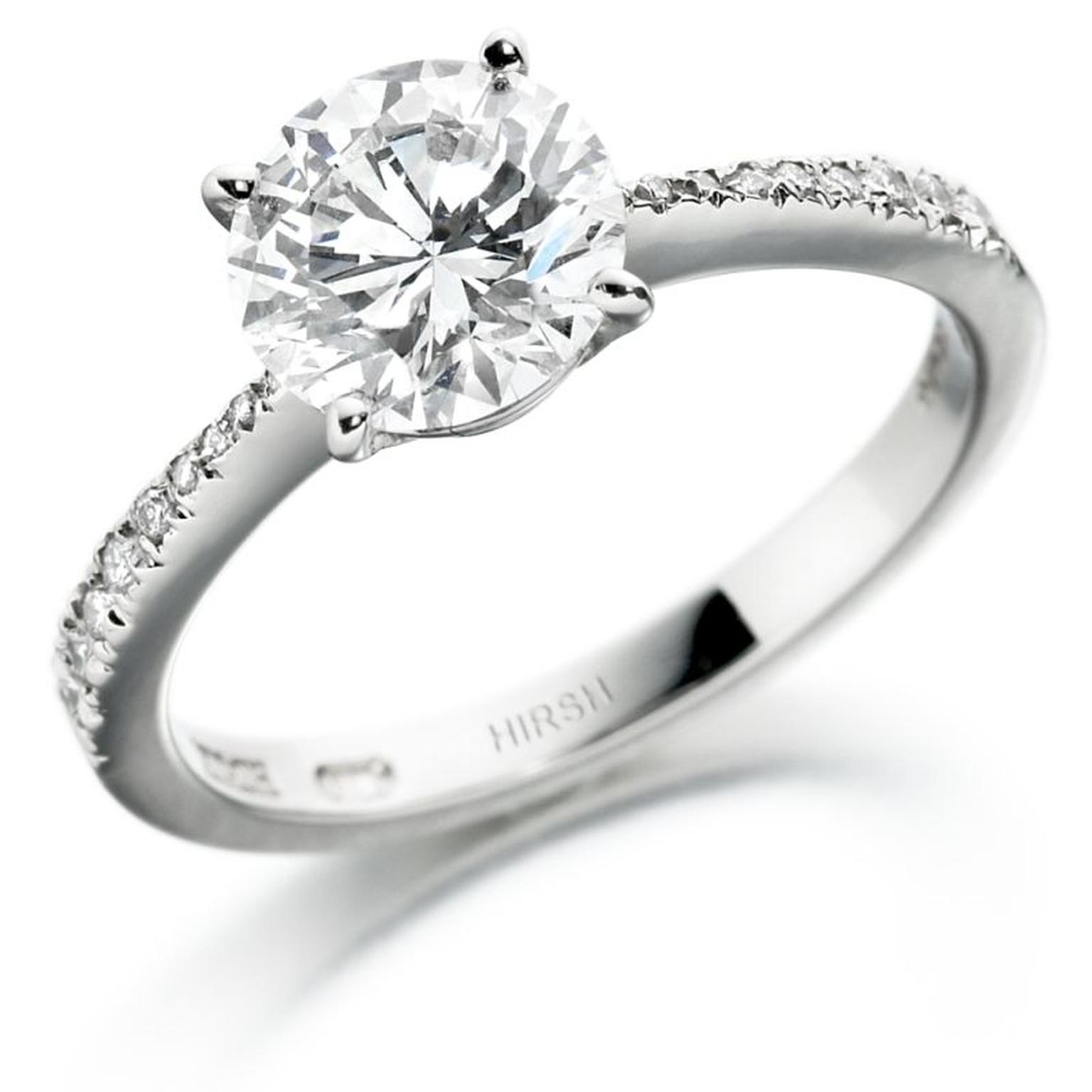 Hirsh 1.50ct brilliant-cut diamond engagement ring with a diamond pave´ band (£30,000).