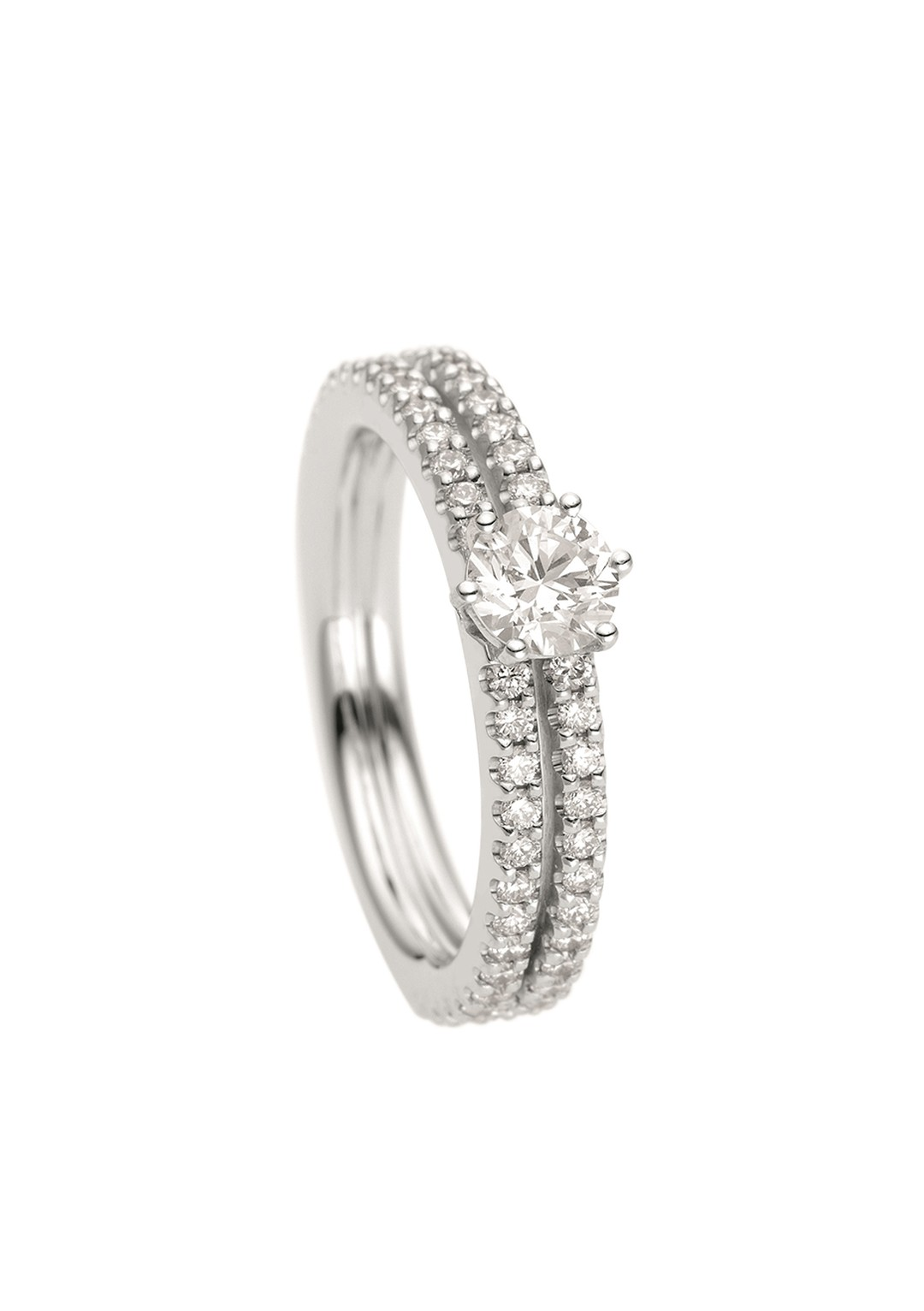 Wempe Crown Mini brilliant-cut diamond engagement ring with a double pavé band (£2,015).