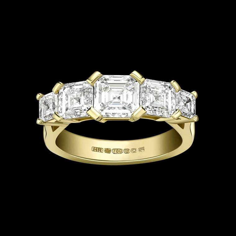 Hattie Rickards bespoke Asscher-cut diamond engagement ring.