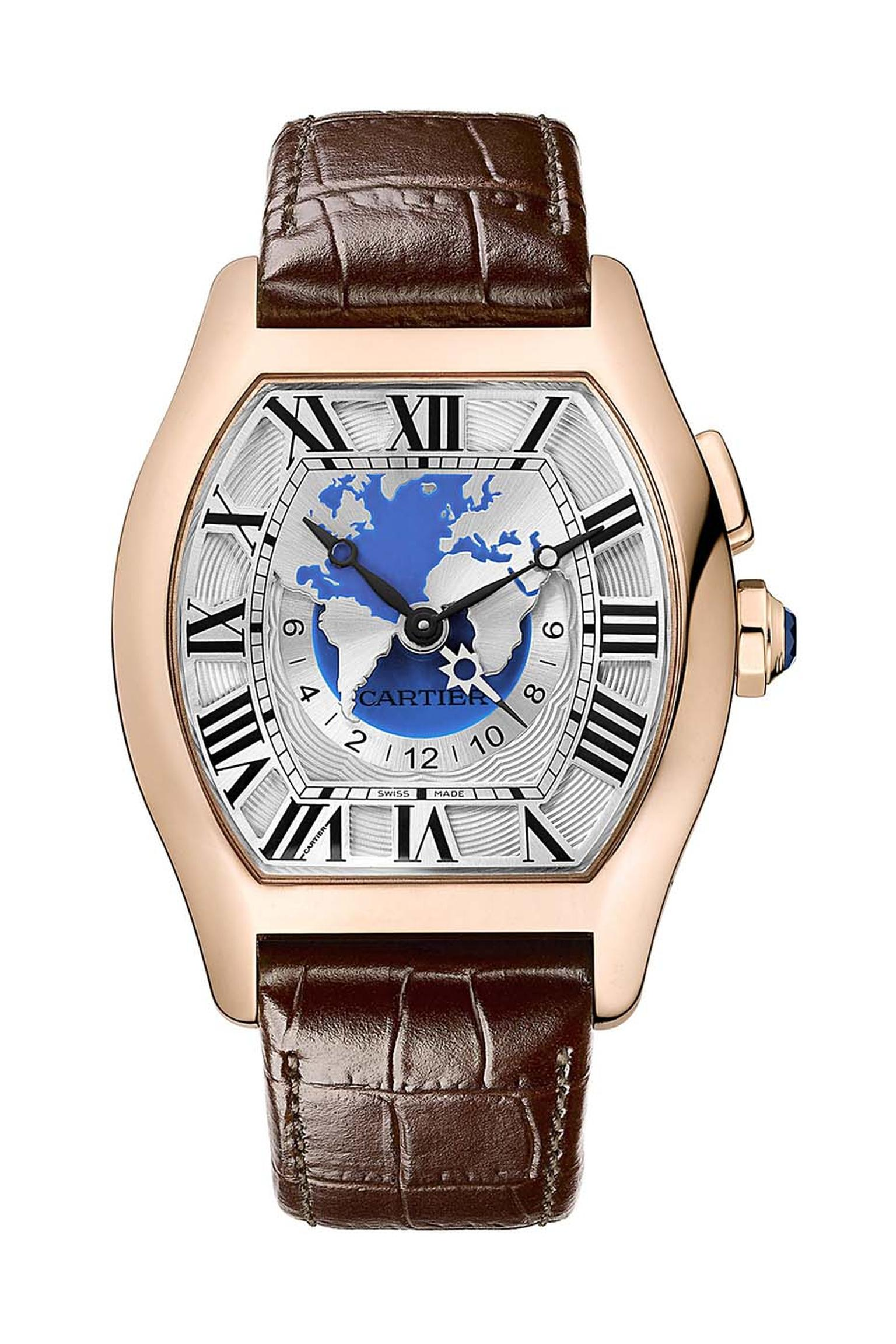 One of Cartier's Fine Watchmaking models features this elegant interpretation of the World Time function.