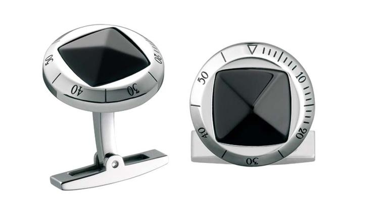 Cartier Pasha de Cartier cufflinks with sterling silver, palladium finish and onyx (£540).