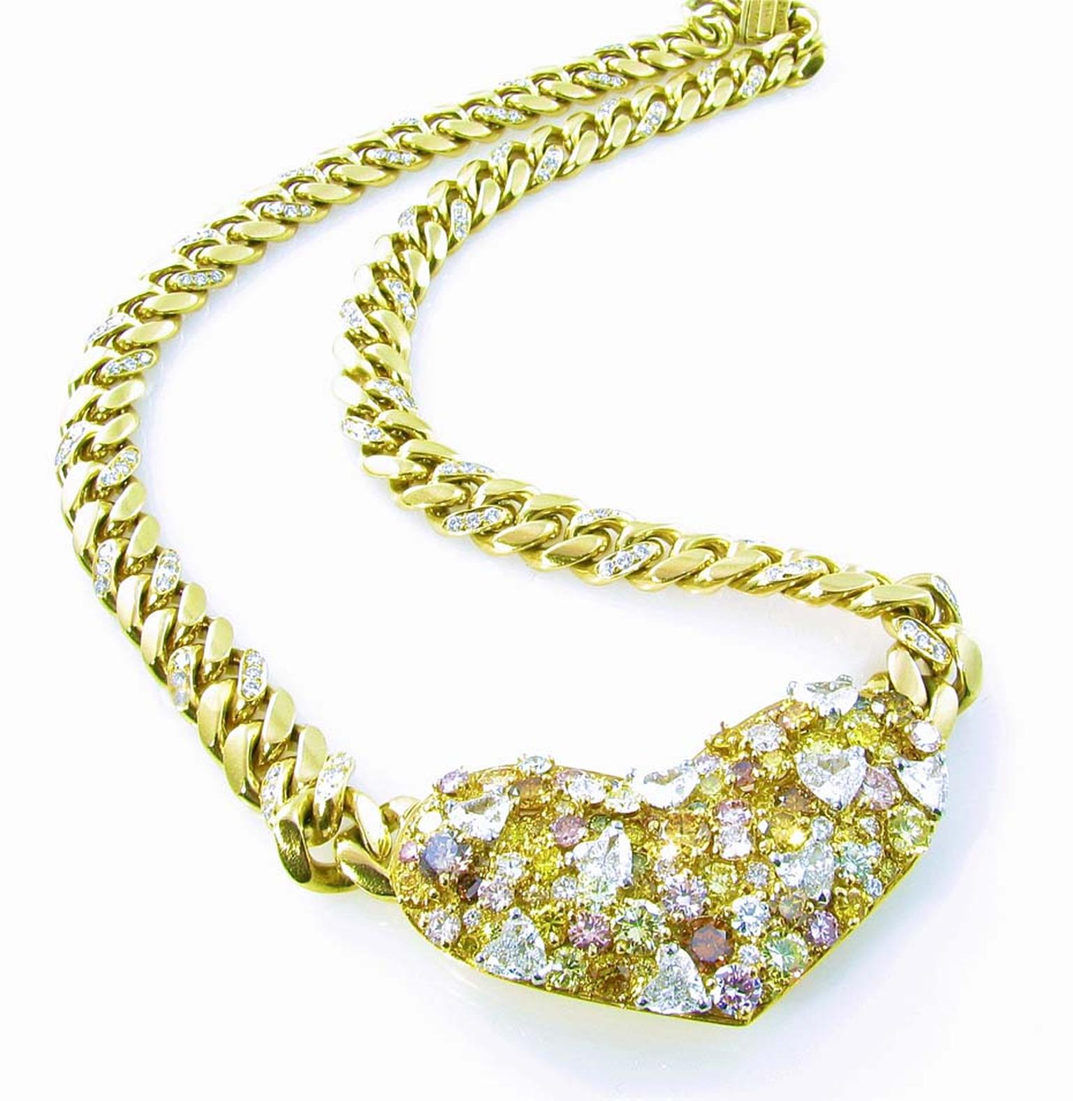 Camilla Dietz Bergeron Gallery's yellow gold, diamond and fancy colored diamond heart shaped necklace signed Bulgari circa 1980's.