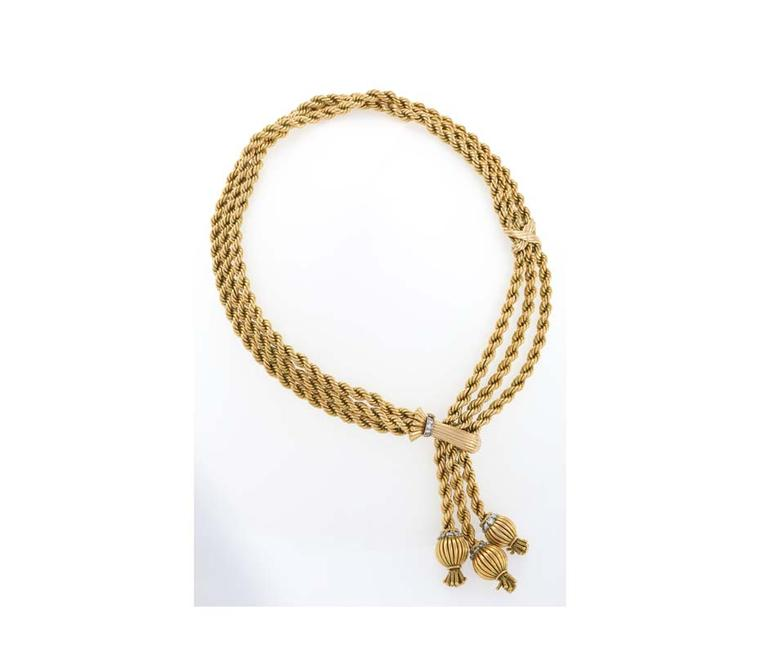 Macklowe Gallery's French mid-20th century gold necklace with 33 round diamonds.