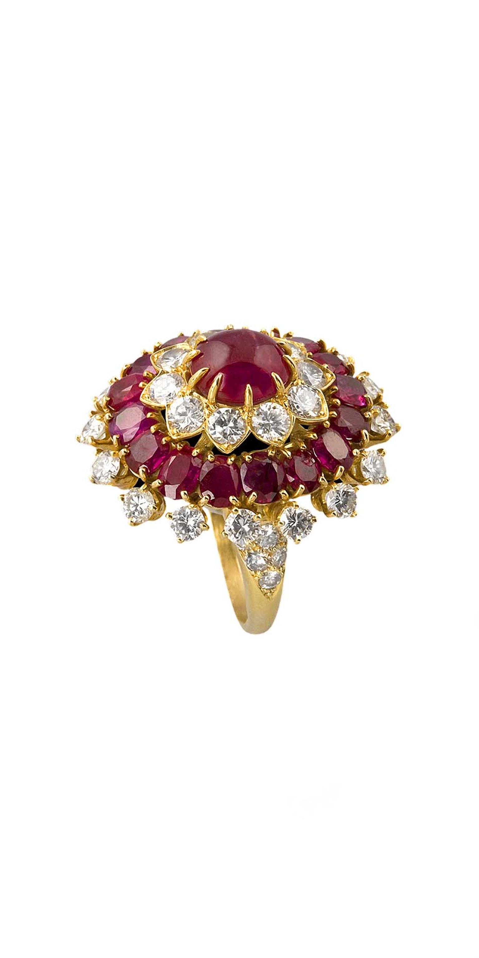 Macklowe Gallery's Indian inspired gold, ruby and diamond ring by Van Cleef & Arpels, featuring a 3.75ct center, surrounded by 38 diamonds and and 16 rubies.
