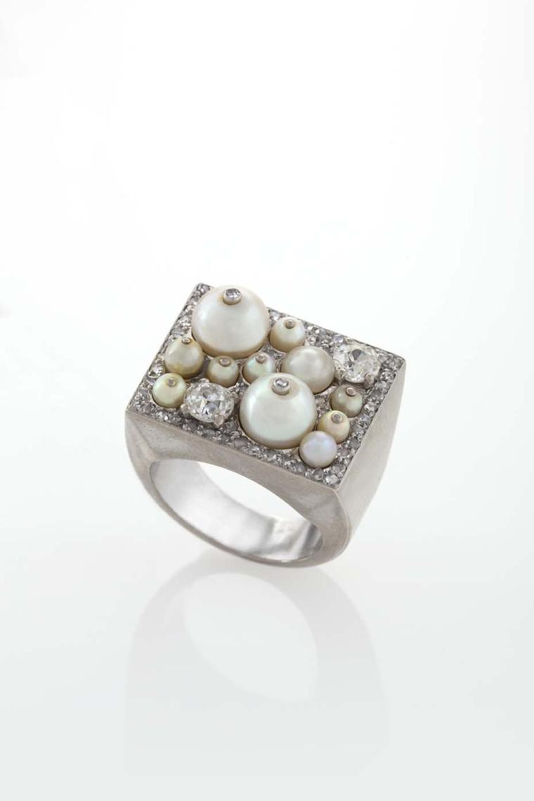Cartier's Art Deco platinum and diamond ring with pearls, available at the Macklowe Gallery in New York.