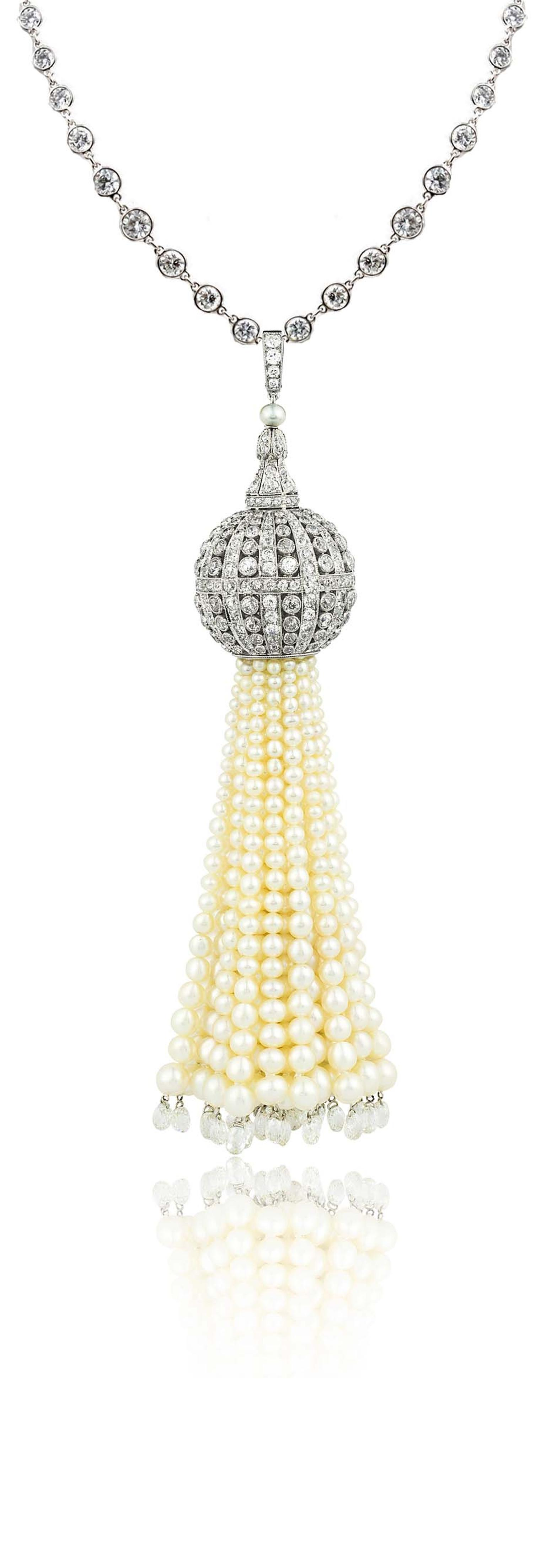 Stephen Russell Gallery's platinum diamond and natural pearl tassel necklace with 22 briolettes totalling 8.30ct.