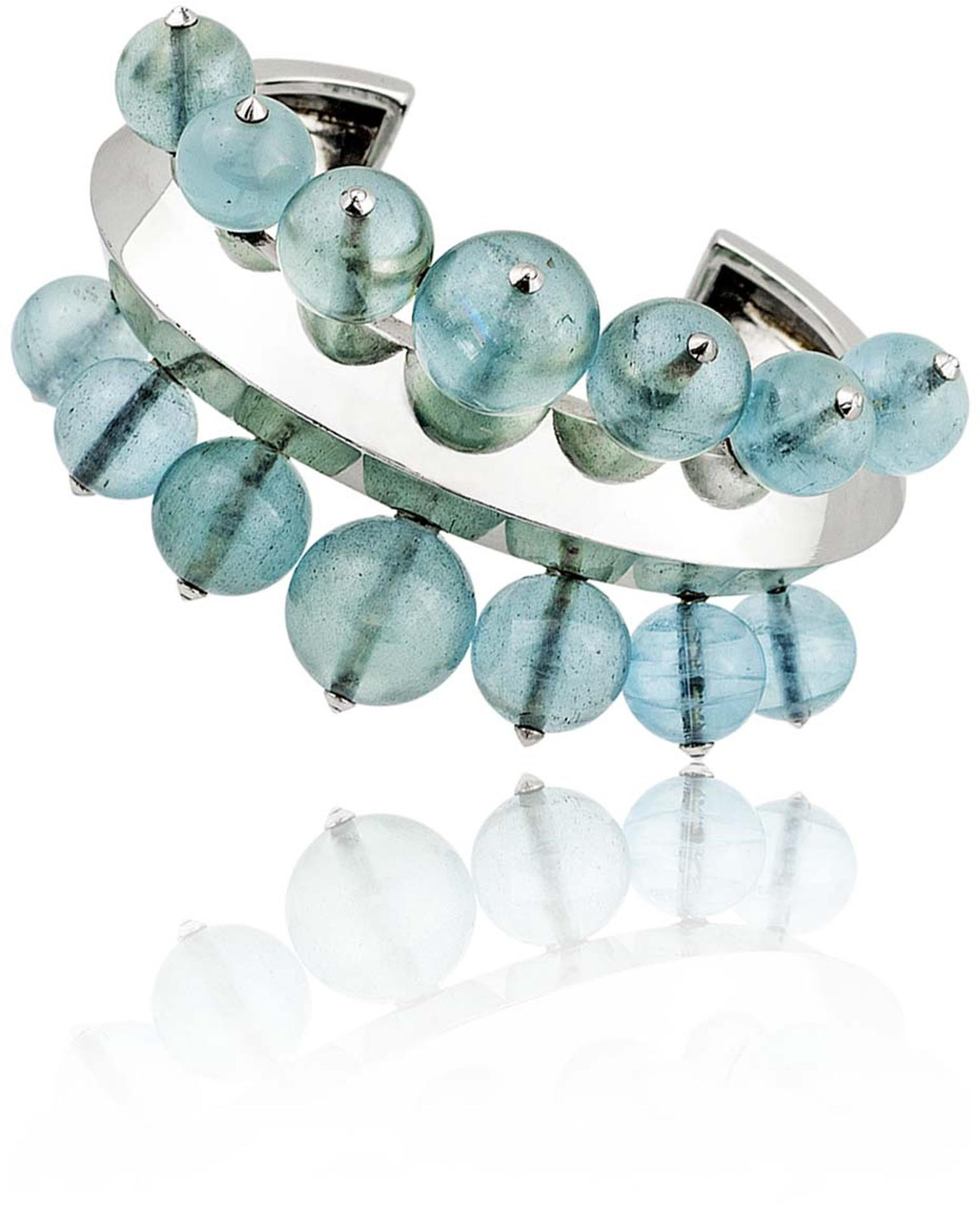 Stephen Russell Gallery's white gold and aquamarine bead bracelet by & Aqua Bead Bracelet by Suzanne Belperron.