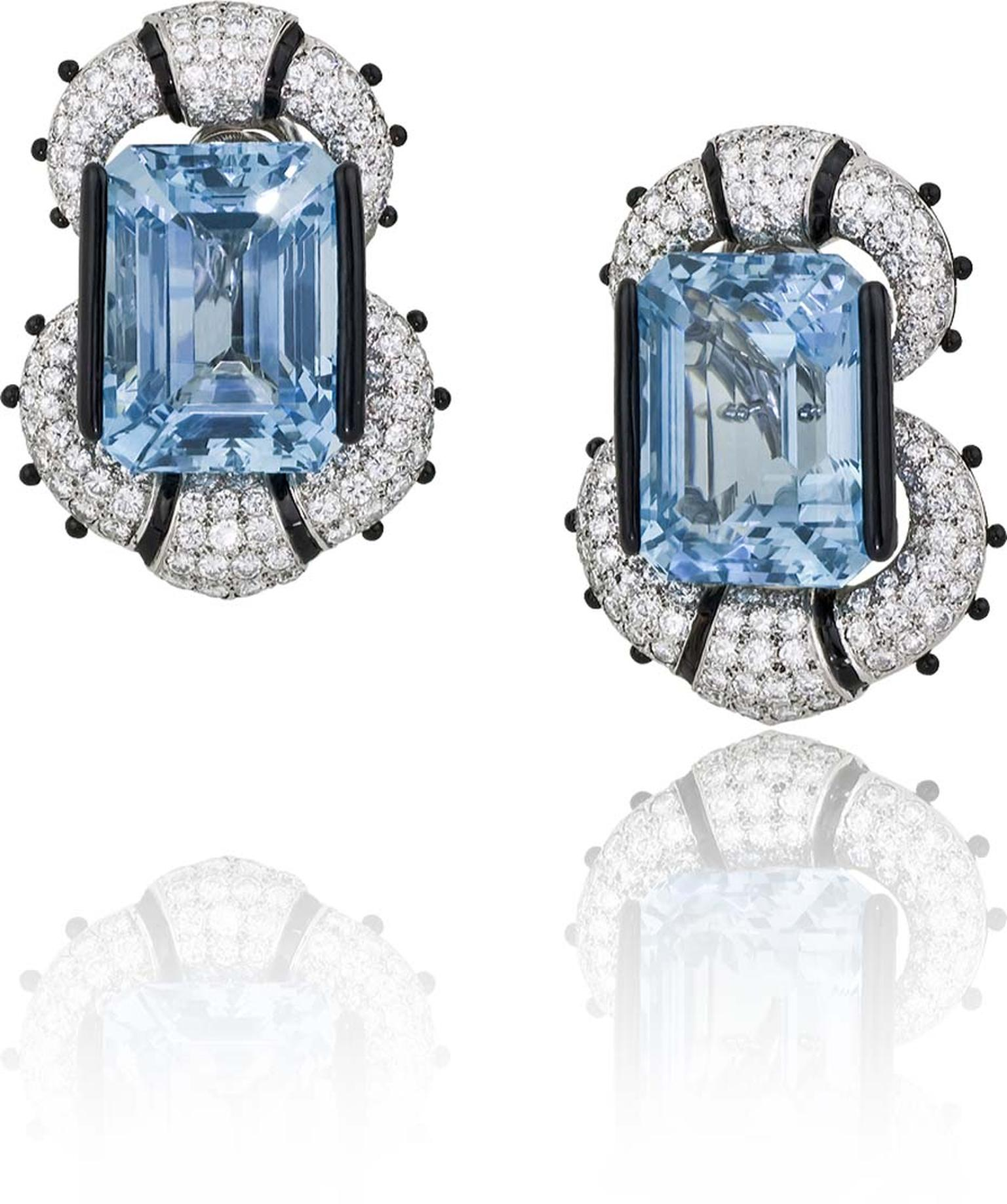 New York Gallery Stephen Russell's platinum earrings with aquamarines, diamonds and black enamel.