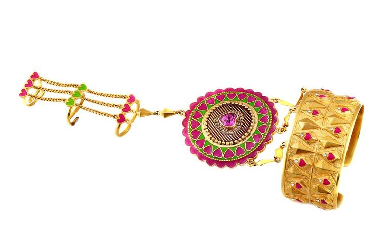A Balco hand ornament with heart motifs from the Amrapali and Manish Arora AW 2014-15 collection.