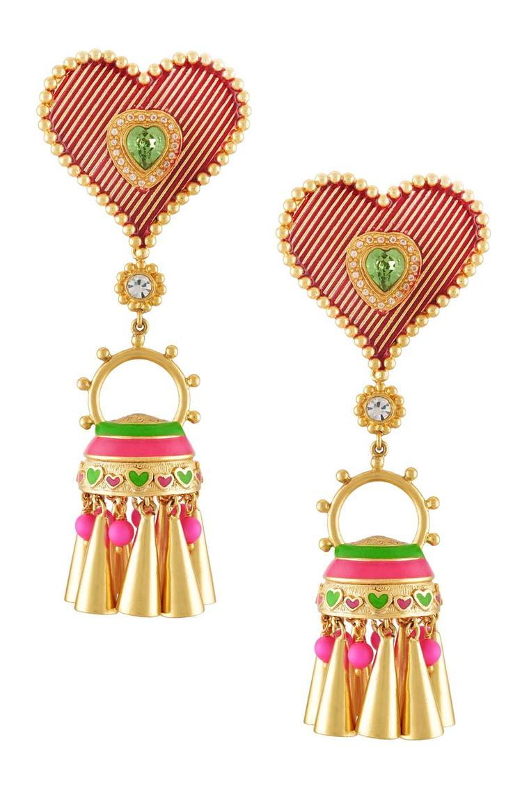 Amrapali and Manish Arora Ella earrings with striped hearts and colourful tassels.