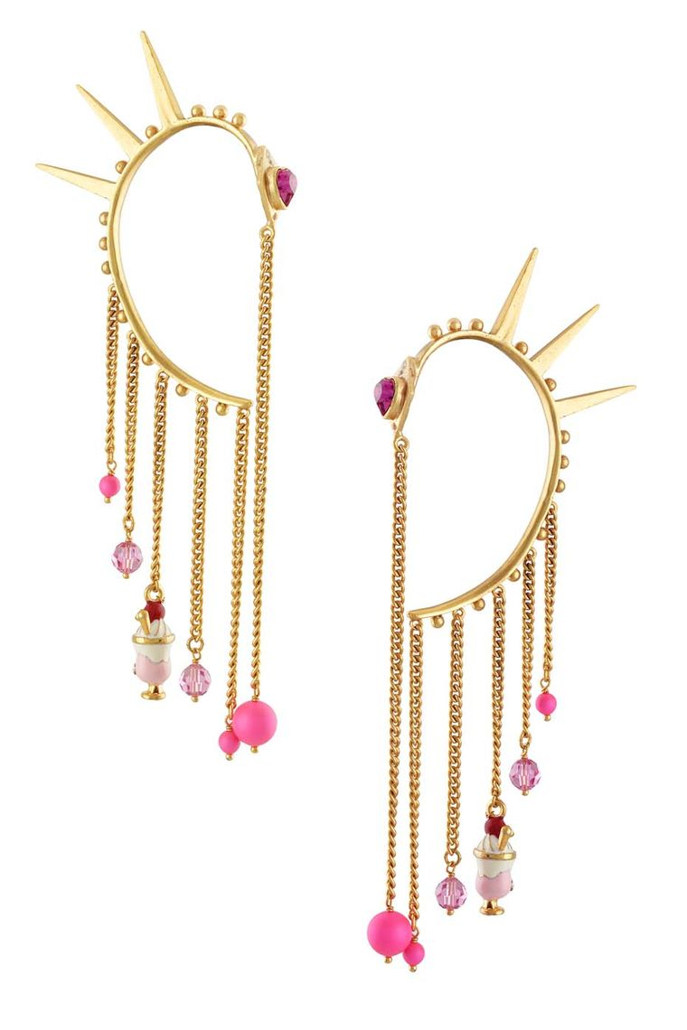 Amrapali and Manish Arora Emonita ear cuffs with gold chain drops.