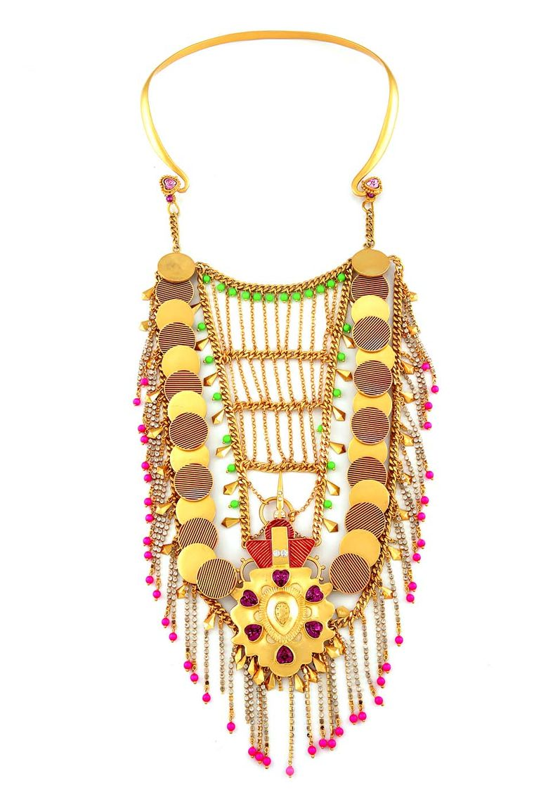 An elaborate Enta necklace with coins, hearts and other colourful motifs from Amrapali and Manish Arora's latest collaboration.