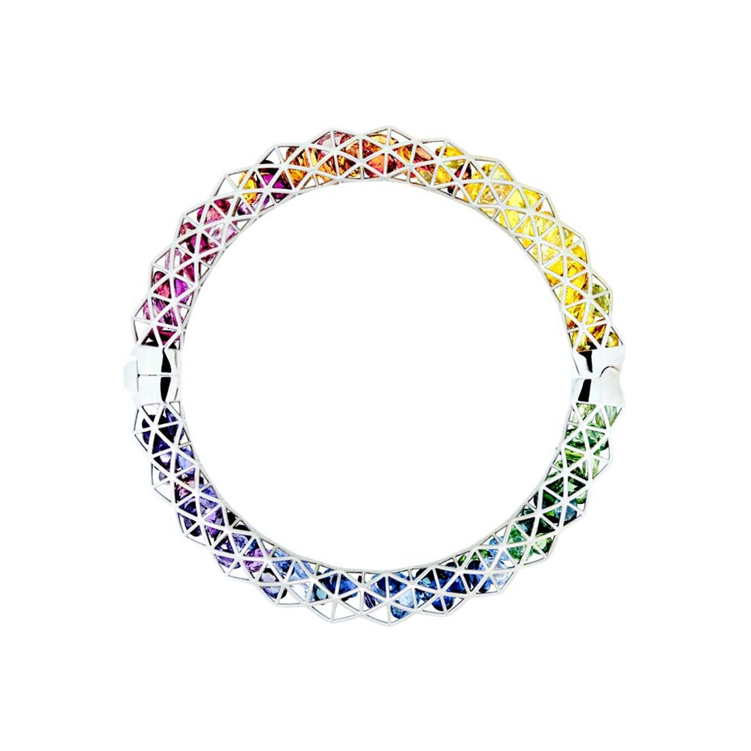 Roule & Co. wire caged white gold Triangle bangle containing rainbow sapphires.