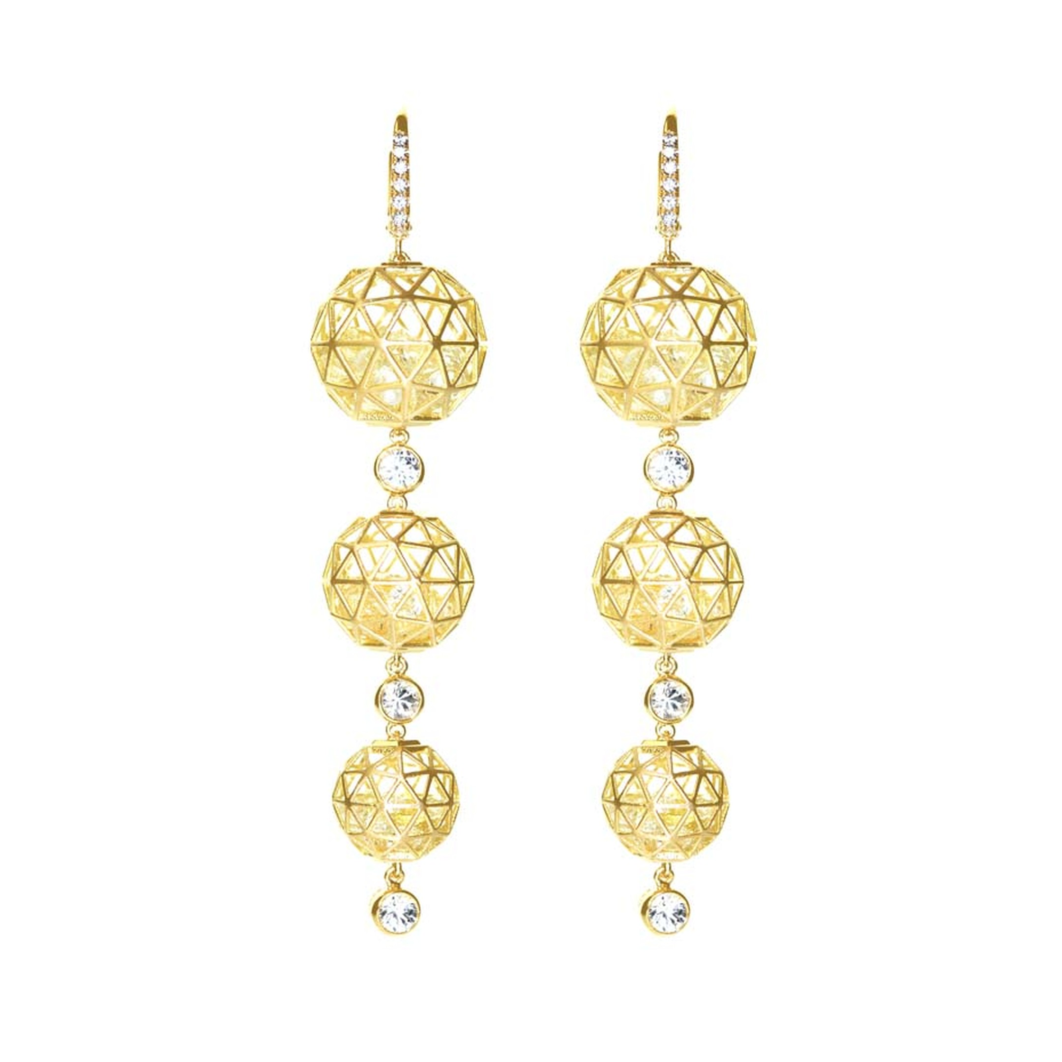 Roule & Co. Triple Geo earrings in yellow gold with yellow sapphires.