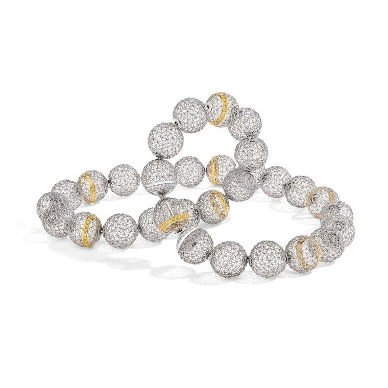 Tom Rucker Geo Alphasphere necklace in platinum and gold featuring 293 Vivid yellow and rare white diamonds totalling 2.86ct.