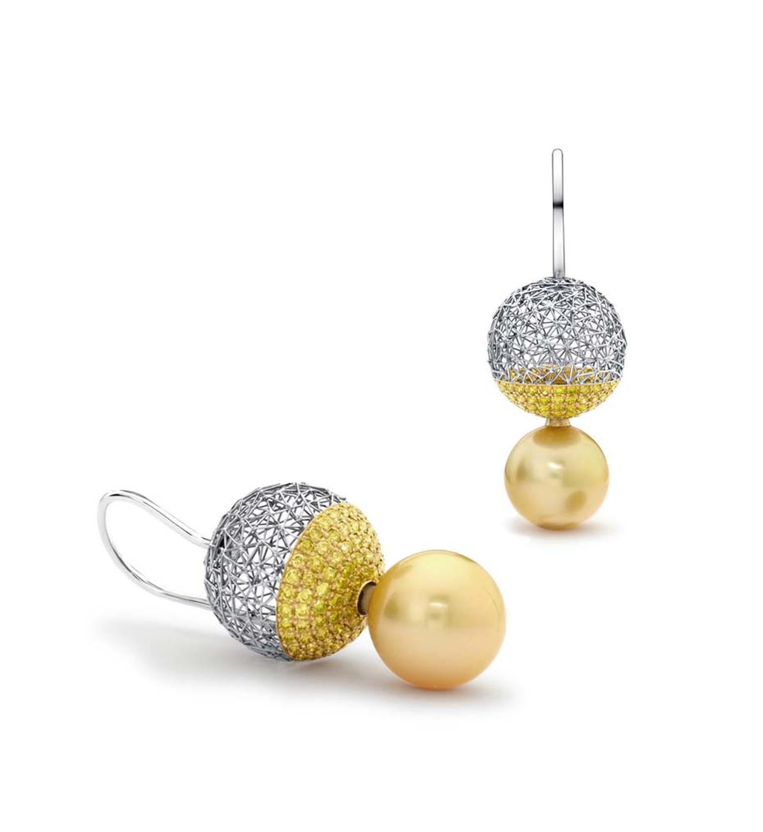 Tom Rucker Geo Eclipse earrings in platinum and gold featuring rare natural Fancy yellow diamonds and interchangeable South Sea pearls.
