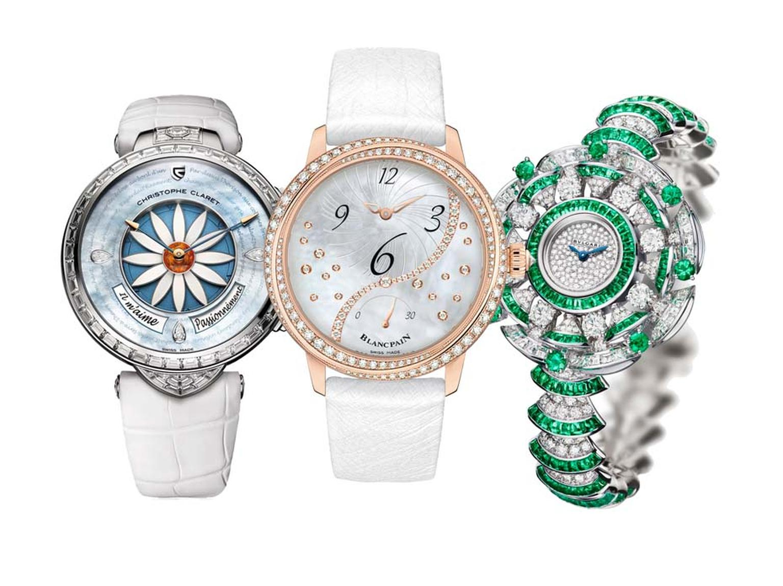 GPHG winners for women's watches included Christophe Claret's whimsical Margot watch with its game of romantic roulette took home the Ladies' High Mechanical prize, meanwhile Blancpain's off-centred hour watch won the Ladies' Watch prize and Bulgari's opu