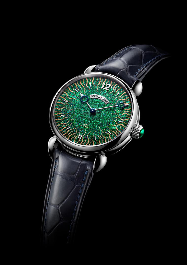 Independent watchmaker Kari Voutilainen took home a well-deserved prize for the Hisui watch which won the Artistic Crafts category with its beautifully lacquered dial and bridges.