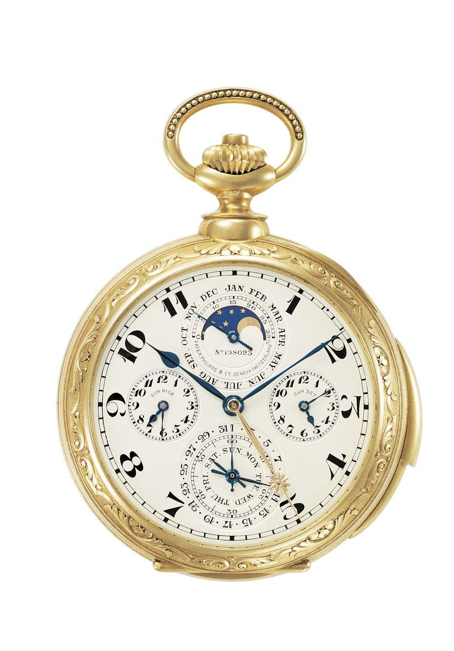 The Patek Philippe pocket watch created for James Ward Packard, with a perpetual calendar, solar hour, rising and setting sun times, Moon phases and a rotating disk of 500 stars representing the Ohio night sky, minute repeater with three bells.