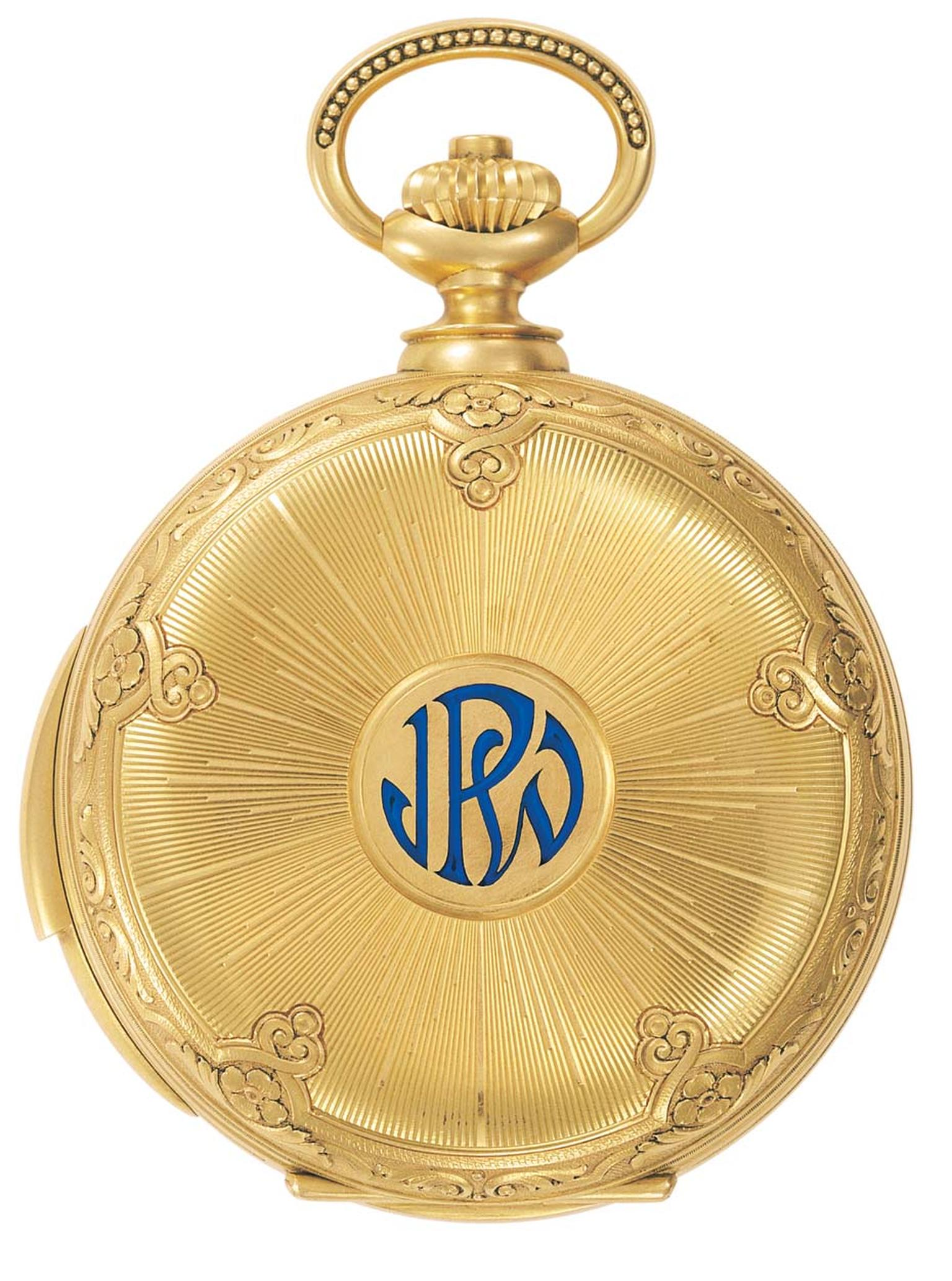 The reverse of James Ward Packard's astronomical pocket watch.