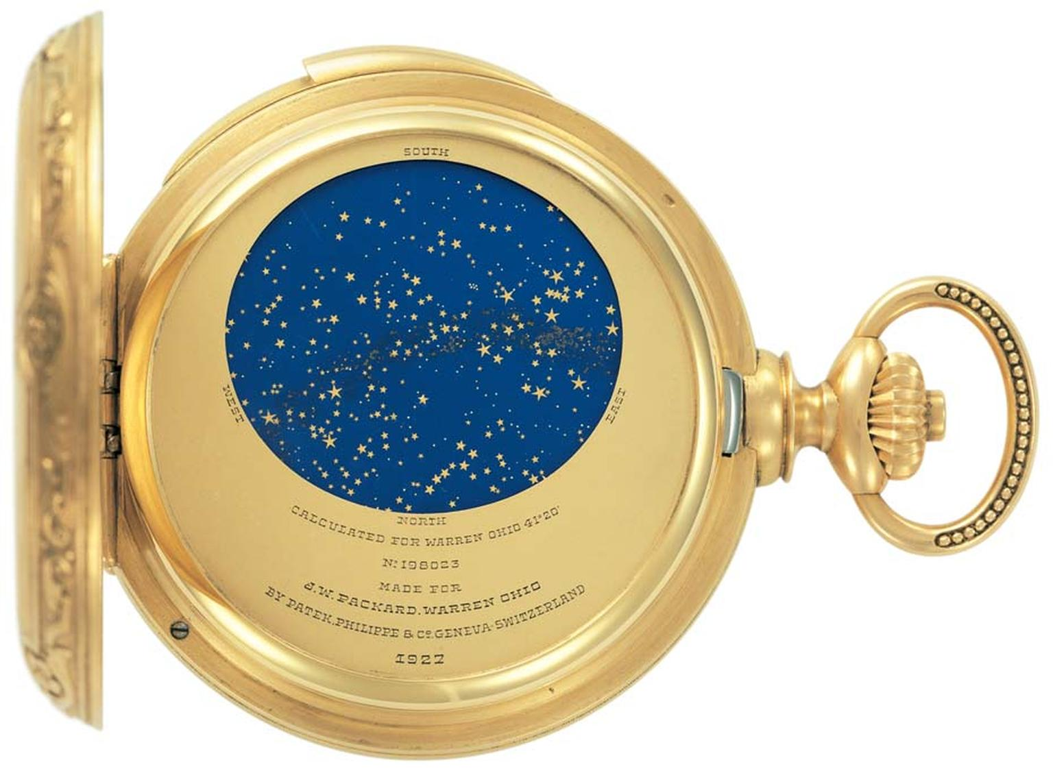 The Patek Philippe Grand Complication pocket watch made for James Ward Packard features a representation of the night sky over Packard's hometown of Warren, Ohio.