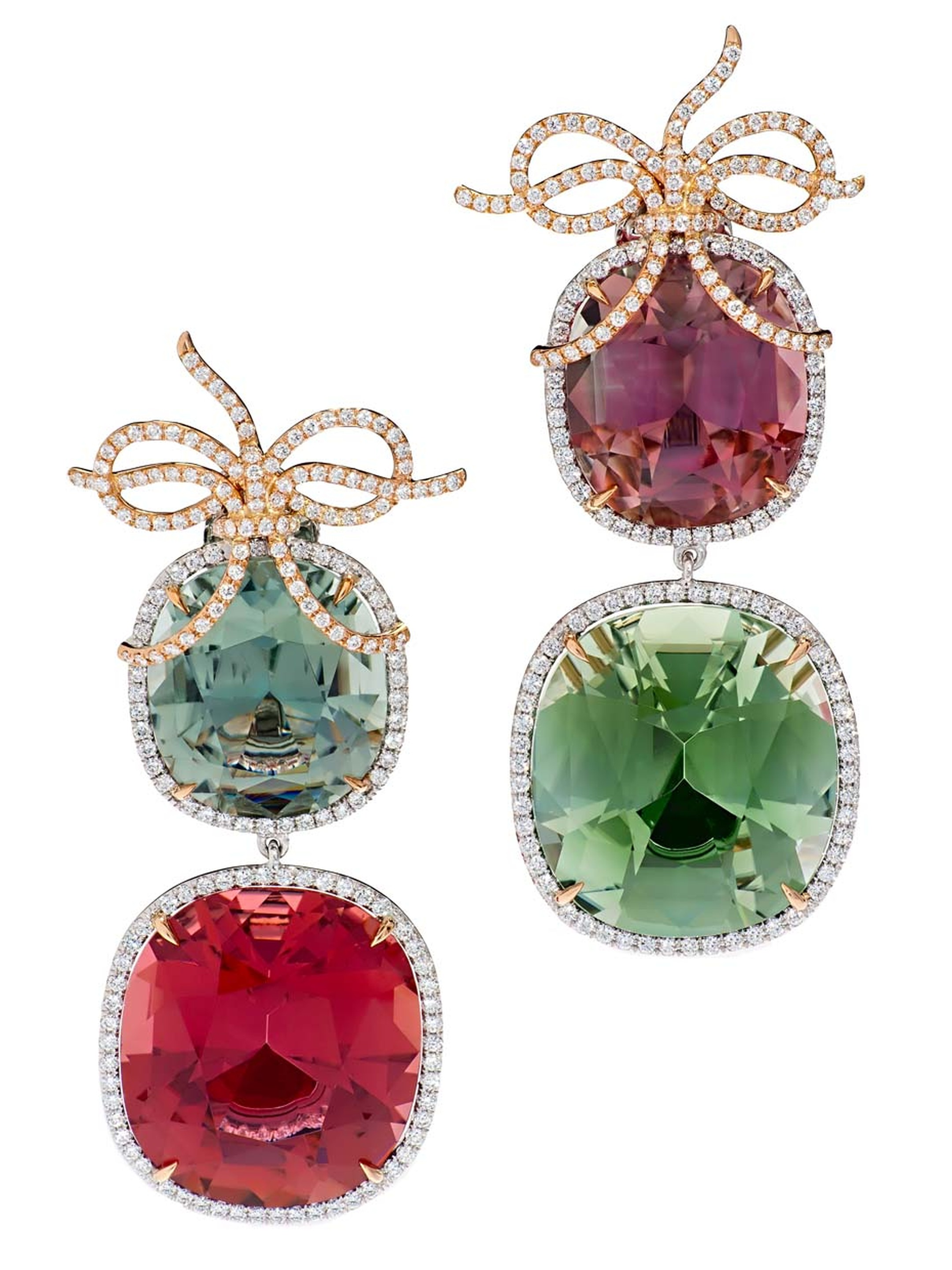 Margot McKinney pink and green tourmaline and diamond Bow earrings.