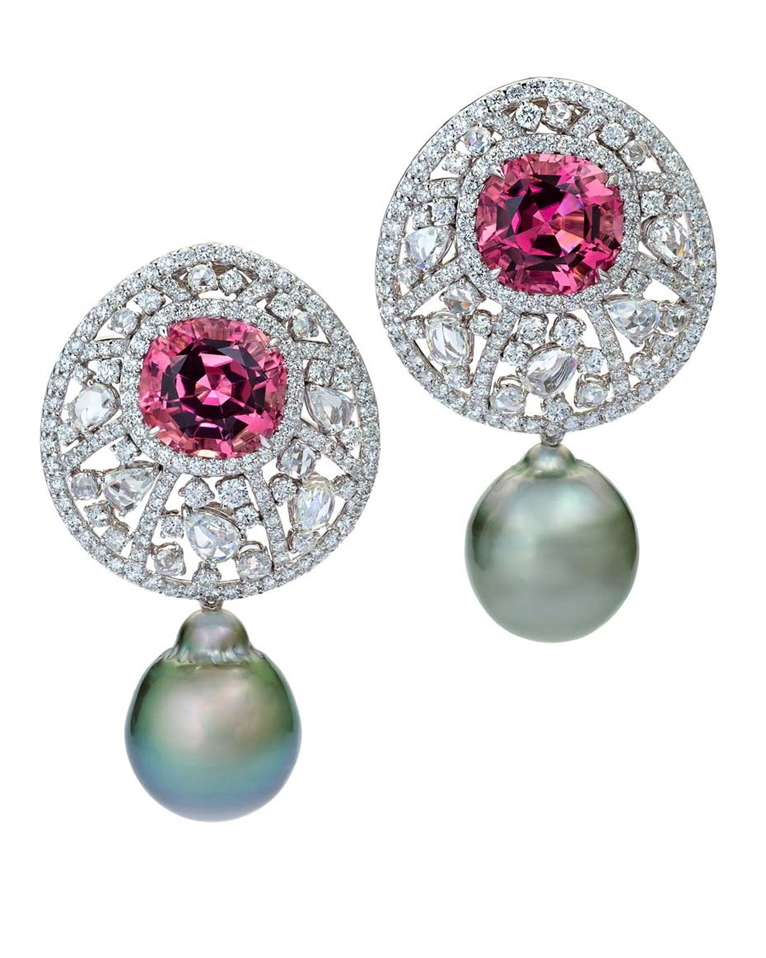 Margot McKinney pink tourmaline, white diamond and Tahitian pearl earrings.