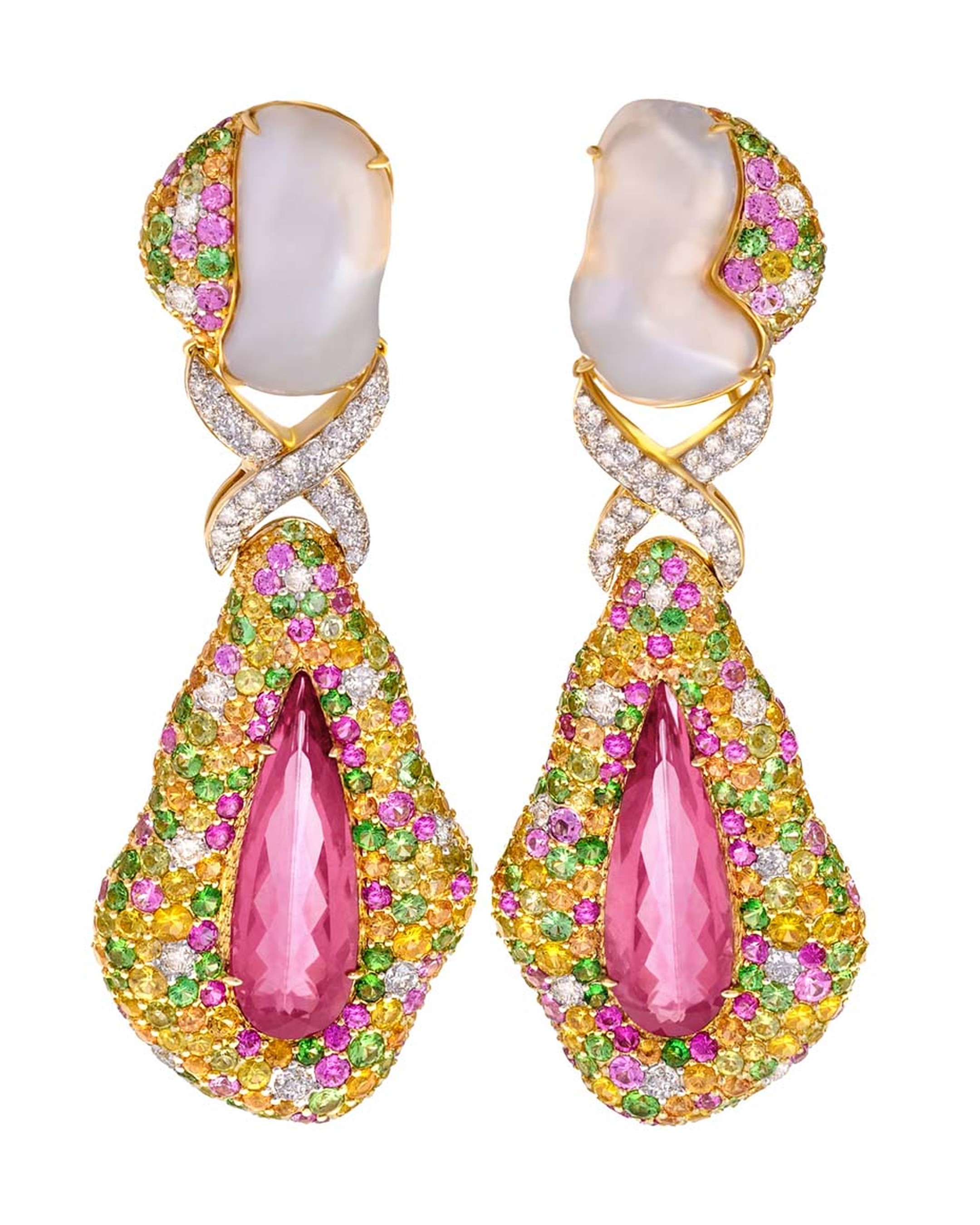Margot McKinney rubellite drop earrings with Baroque South Sea pearls, sapphires and diamonds ($45,000).