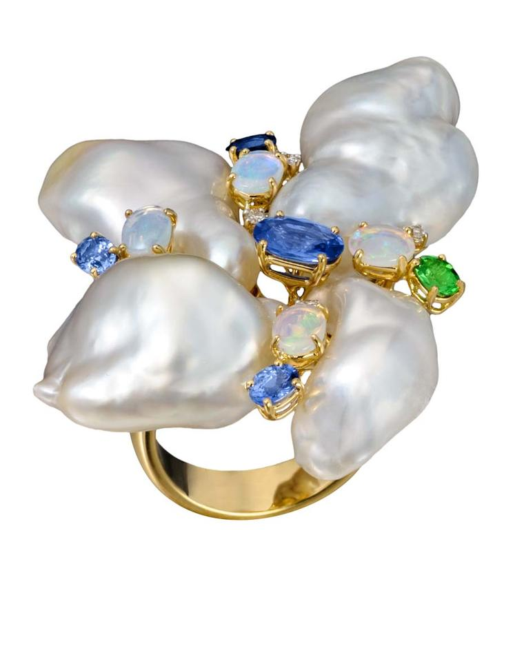 Margot McKinney Baroque South Sea pearl ring with opals, sapphires and diamonds.