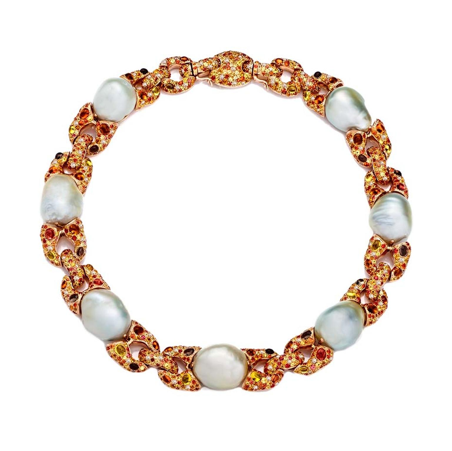 Margot McKinney luminescent gem-set collier with Baroque South Sea pearls.