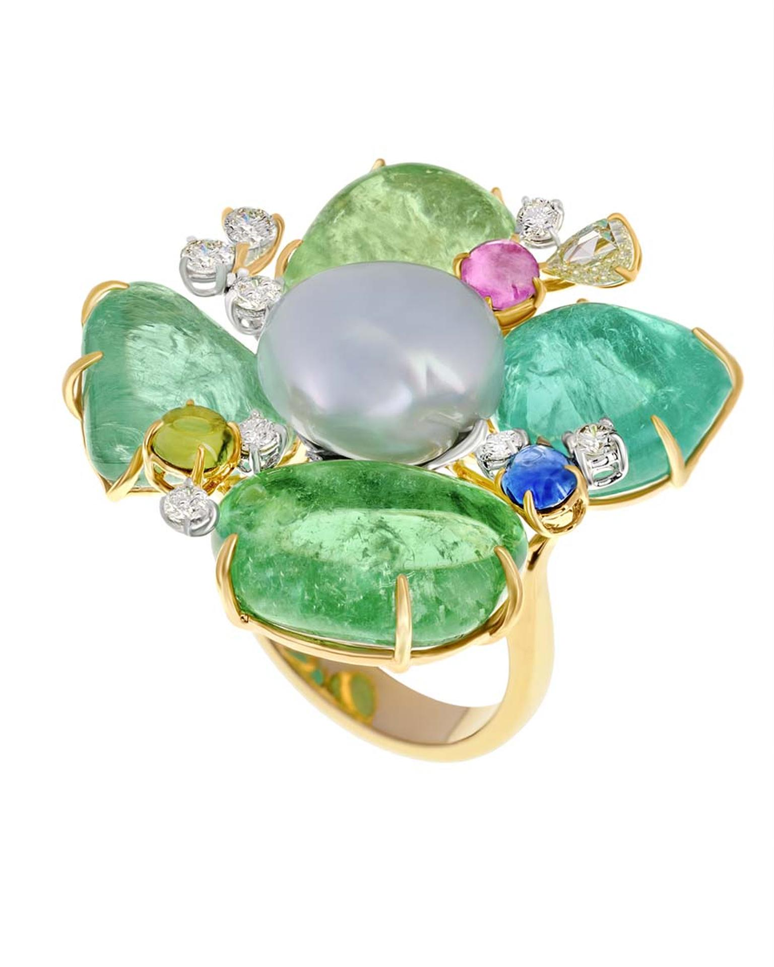 Margot McKinney Paraiba Petal Flower ring with a centre pearl.