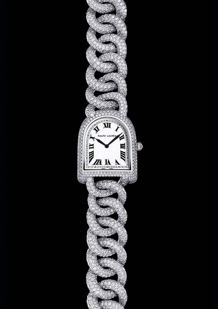 The most opulent Ralph Lauren Stirrup watch is the Petite Stirrup Diamond Link watch with a white gold case and link bracelet fully pavéd with more than 20ct of diamonds, which illuminate the off-white lacquered dial.