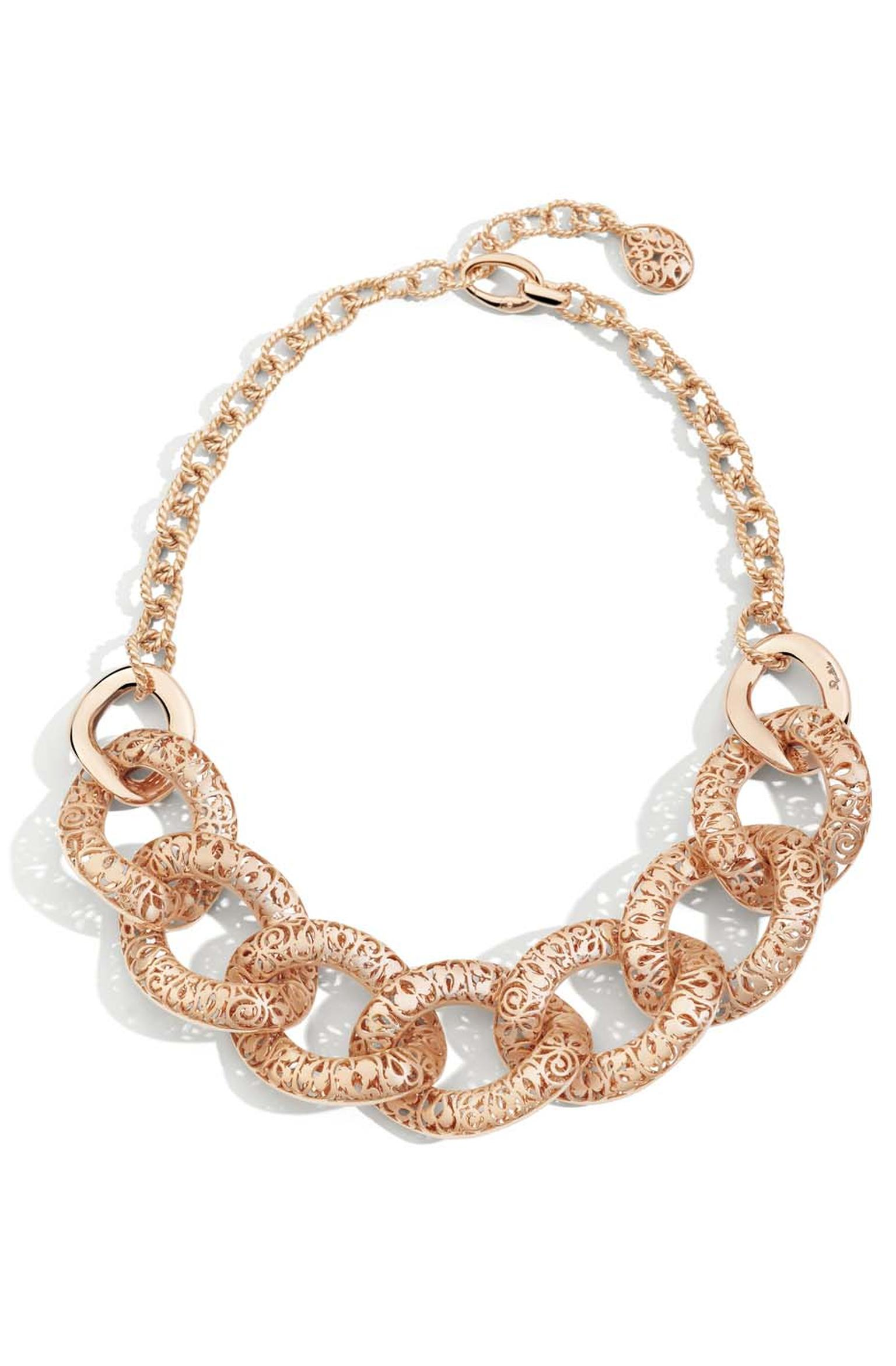Pomellato Arabesque necklace in polished and matte rose gold (£28,500).