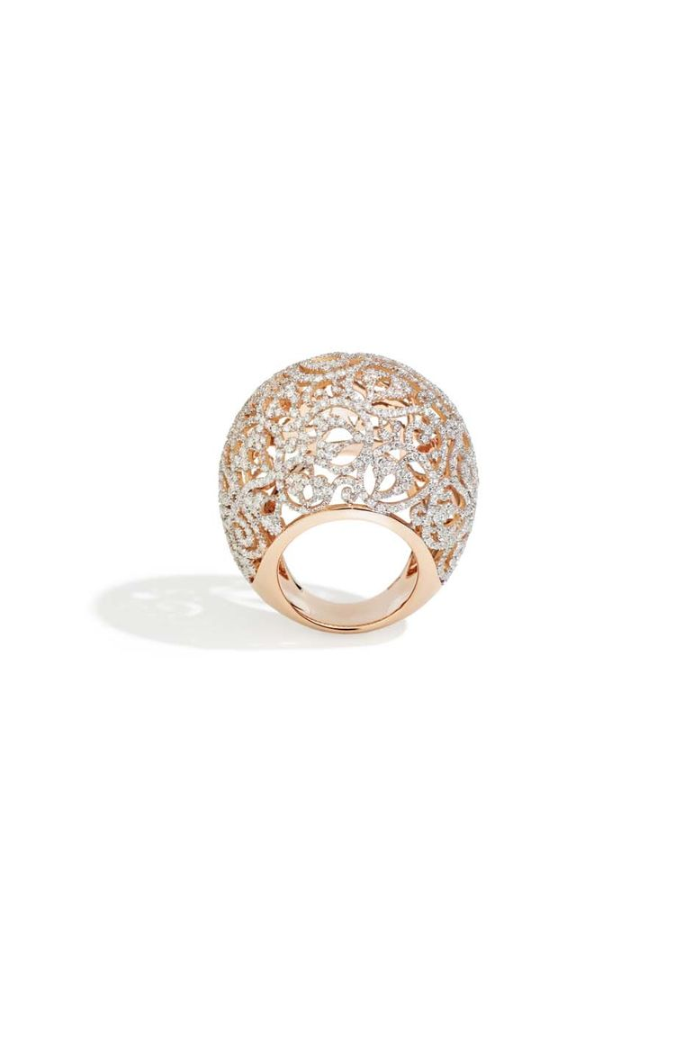Pomellato Arabesque ring in polished rhodium-plated rose gold, set with 670 diamonds (£15,700).
