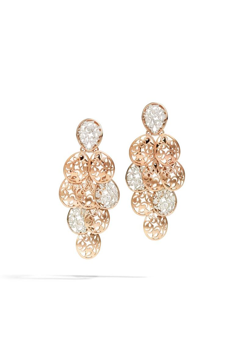 Pomellato Arabesque chandelier earrings in polished rhodium-plated rose gold with diamonds (£11,000).