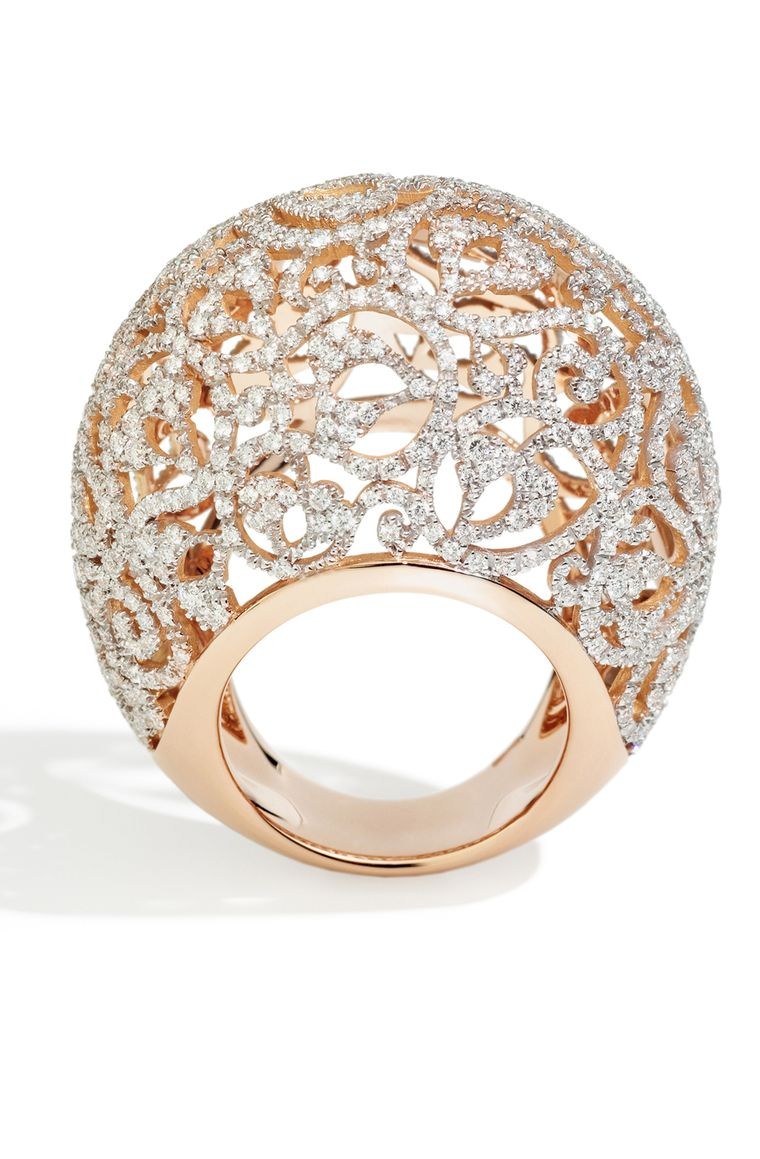 Pomellato Arabesque ring in polished rhodium-plated rose gold, set with 670 diamonds (£17,500).