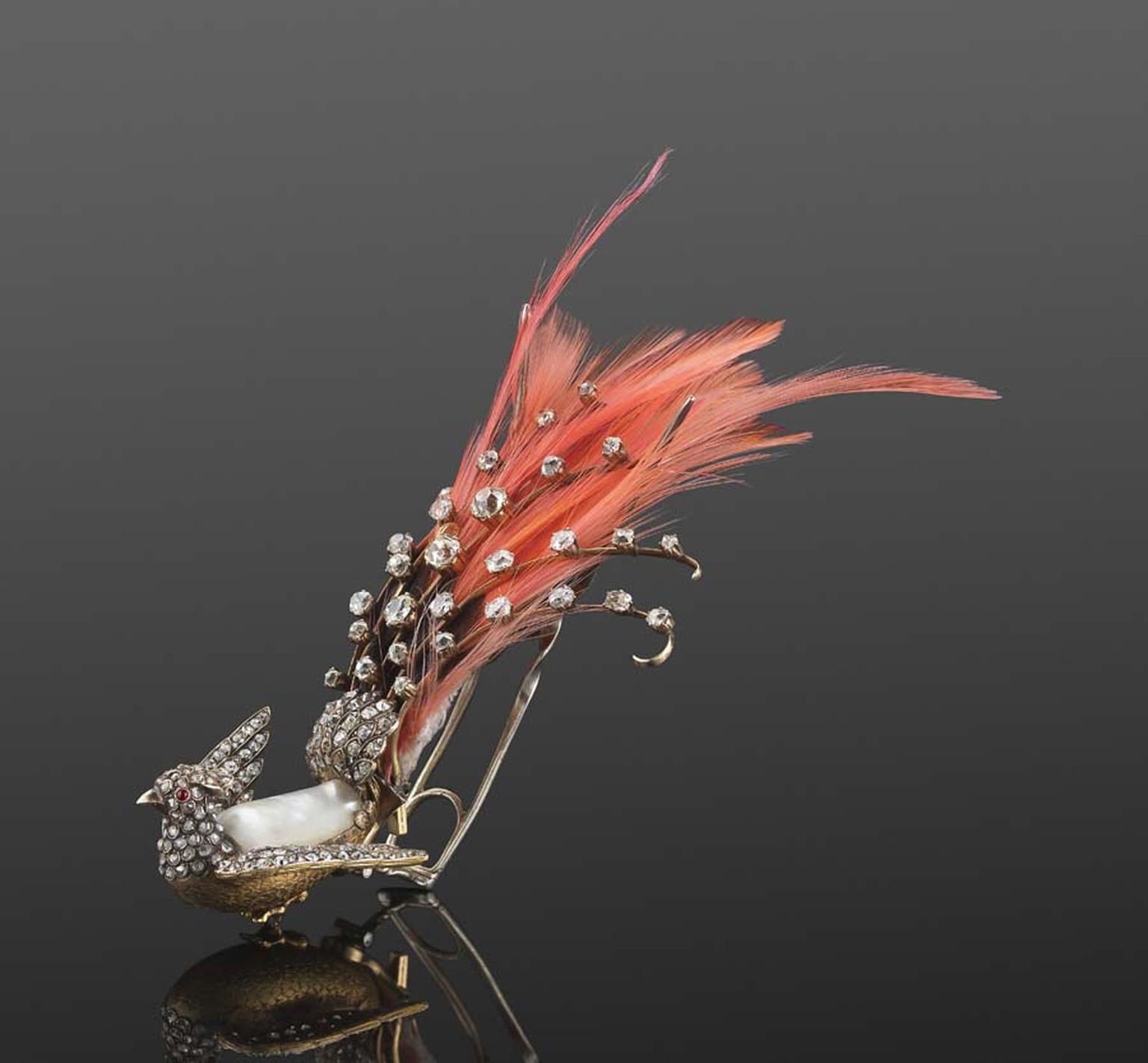 19th century diamond, ruby and pearl bird aigrette hair ornament with feathers, sold at Fred Leighton's store in Manhattan.