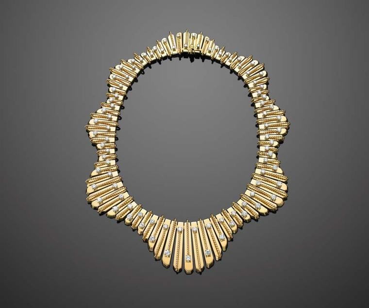 Yellow gold and diamond undulating fringe necklace by Cartier, circa 1950s, sold by Fred Leighton.