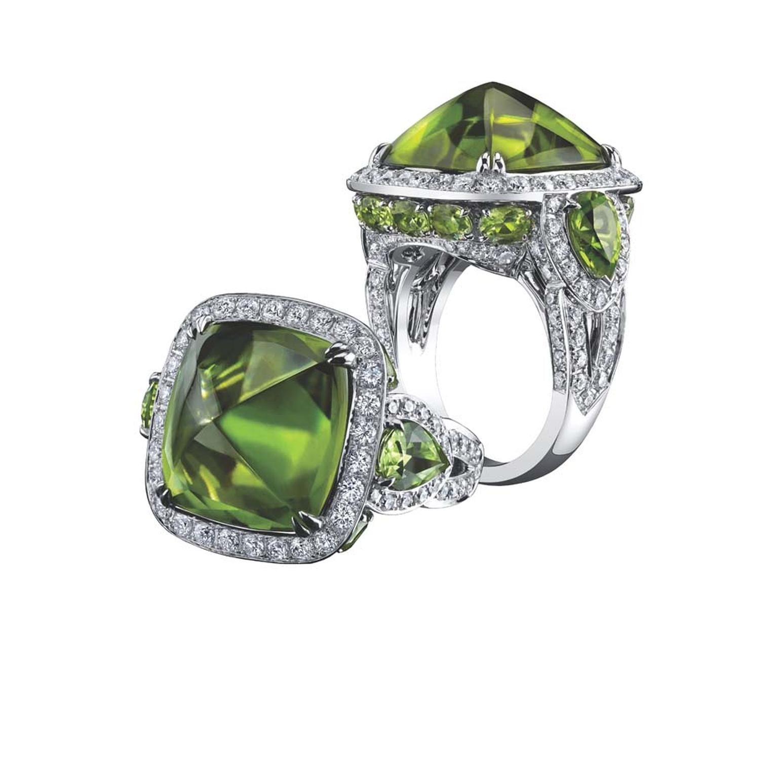 Robert Procop ring in white gold, from the Legacy Brooke collection, set with a 17.00ct sugarloaf peridot and diamonds ($24,000).