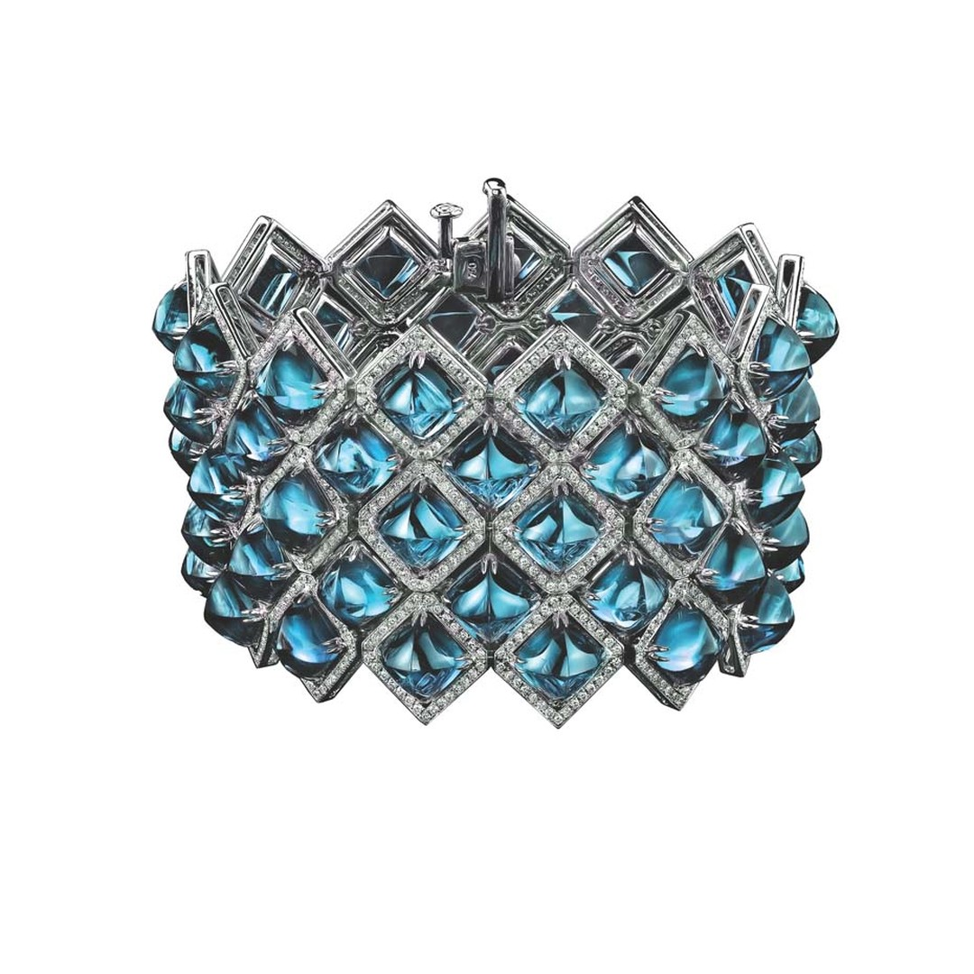 Robert Procop cuff in white gold, from the Legacy Brooke collection, with blue topaz and diamonds.