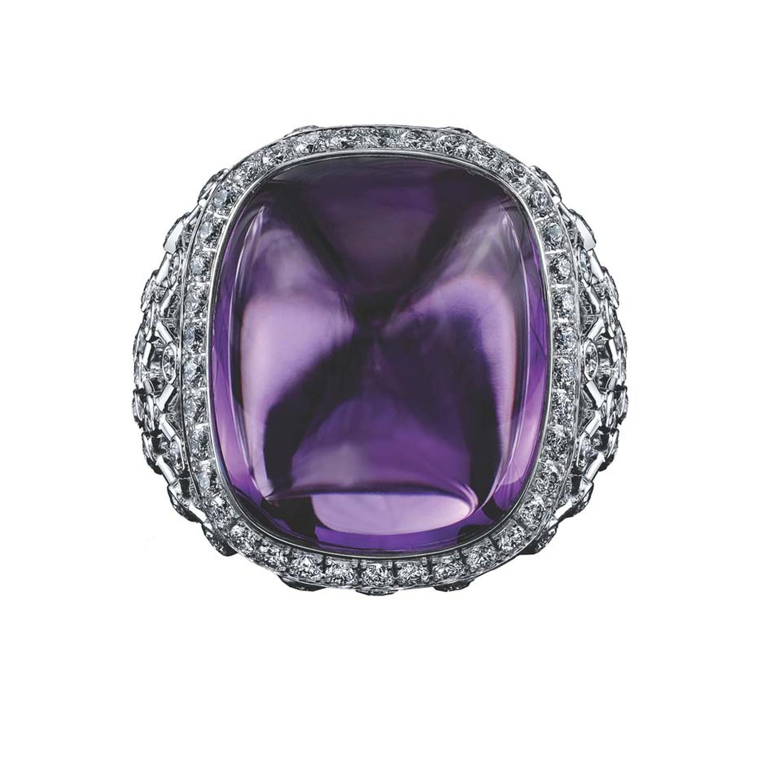 Robert Procop ring in white gold, from the Legacy Brooke collection, featuring an 18.00ct sugarloaf amethyst and diamonds ($11,000).