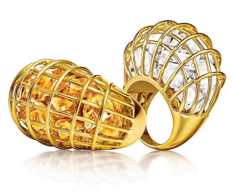Verdura Caged rings in yellow gold with rock crystal and citrine.