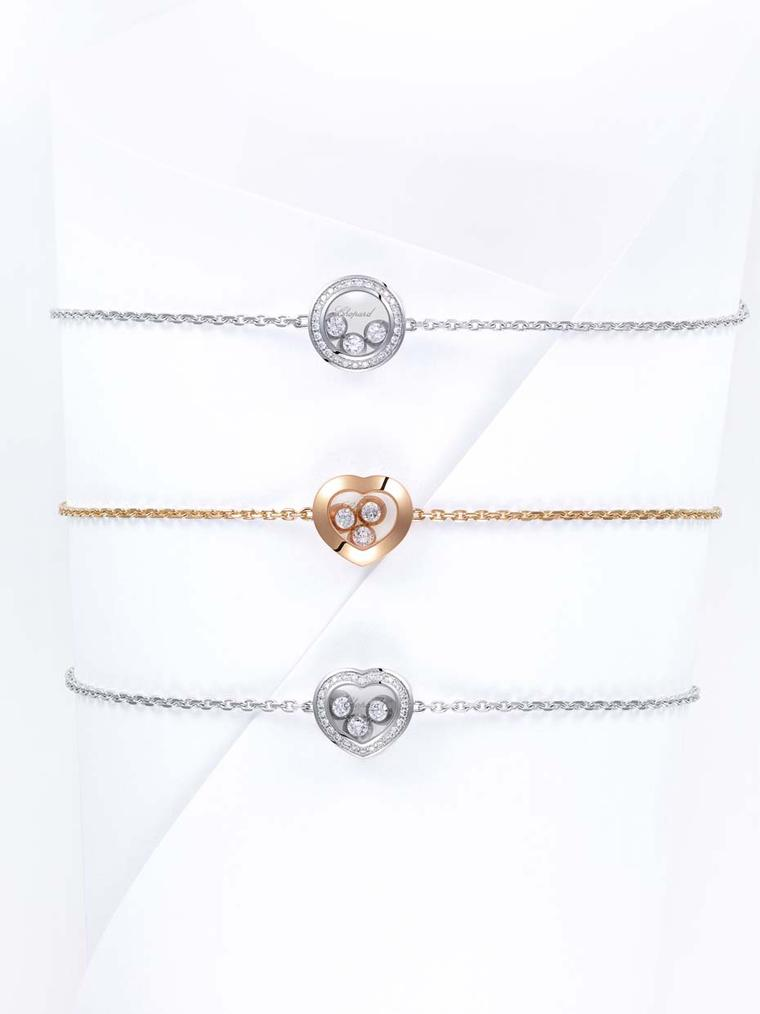 Chopard bracelets from the Happy Curves bracelet in white or rose gold with either a circular or heart motif carrying three freely moving brilliant-cut diamonds.