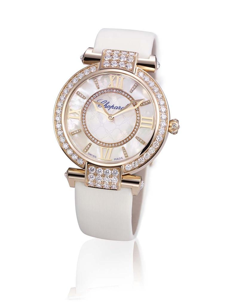 The Chopard Imperiale watch is classical in spirit, with Roman numerals and a round 36mm white gold or rose gold case, the new dial of the has been crafted in shimmering lavender, pink or white mother-of-pearl.