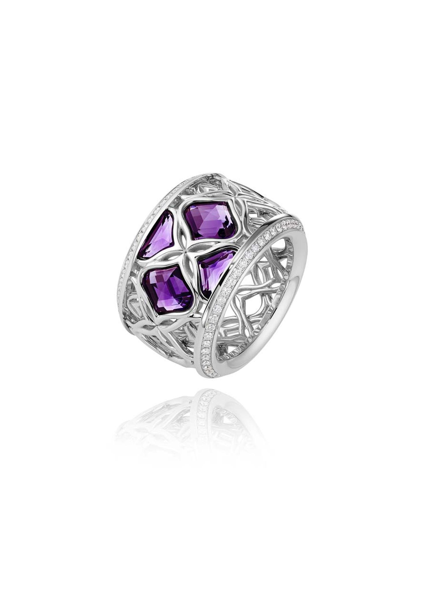 Chopard Imperiale ring featuring a facetted amethyst surrounded by arabesque motifs and diamonds.