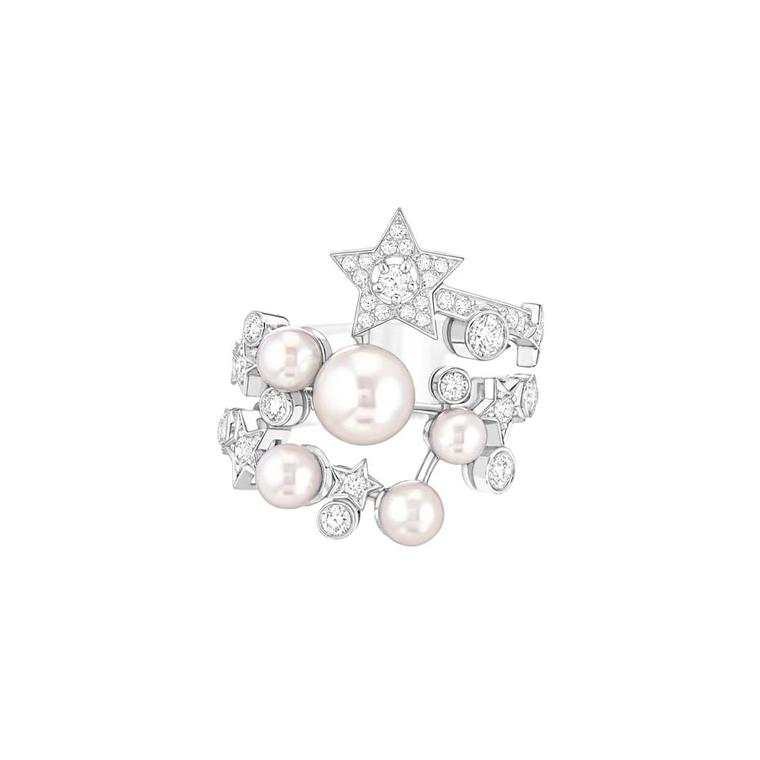 Chanel Voie Lactée ring in white gold set with 45 brilliant-cut diamonds and six Japanese cultured pearls, from the new Comete collection.