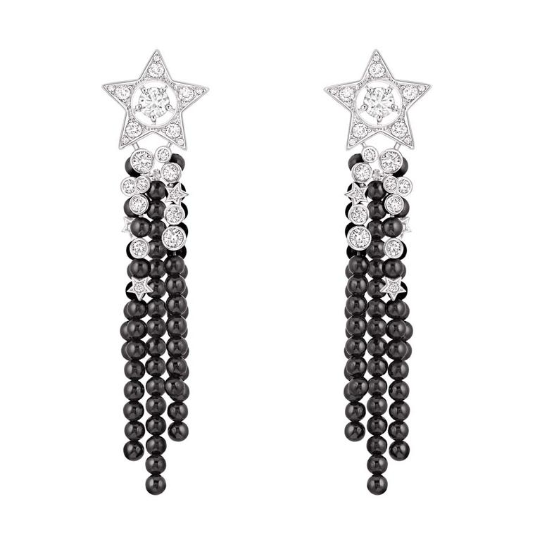 Chanel Nuit de Diamants earrings in white gold set with 46 brilliant-cut diamonds and 501 black spinel beads, from the new Comete collection.