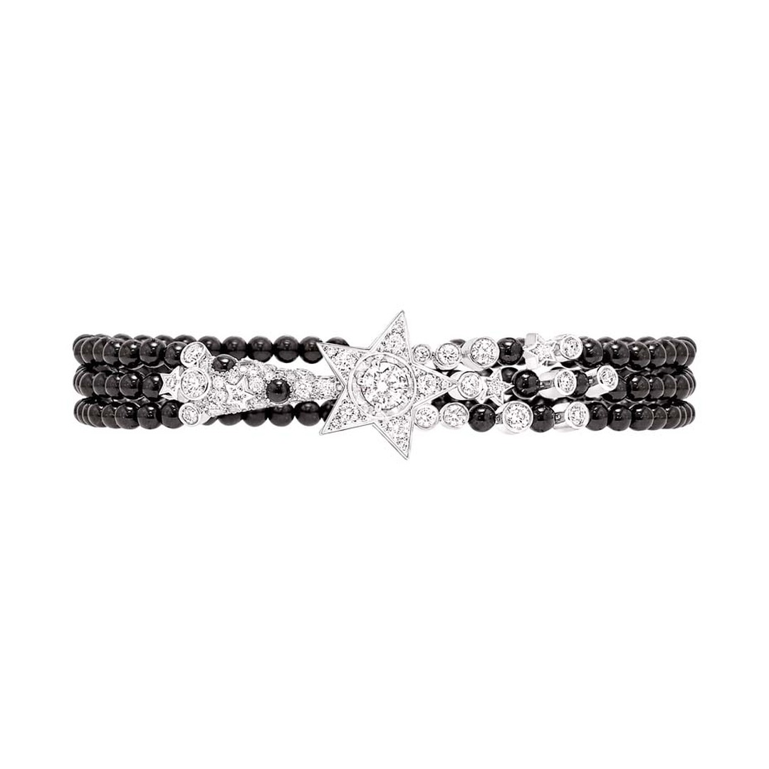Chanel Nuit de Diamants bracelet in white gold with diamonds and black spinel beads, from the Comete high jewellery collection.