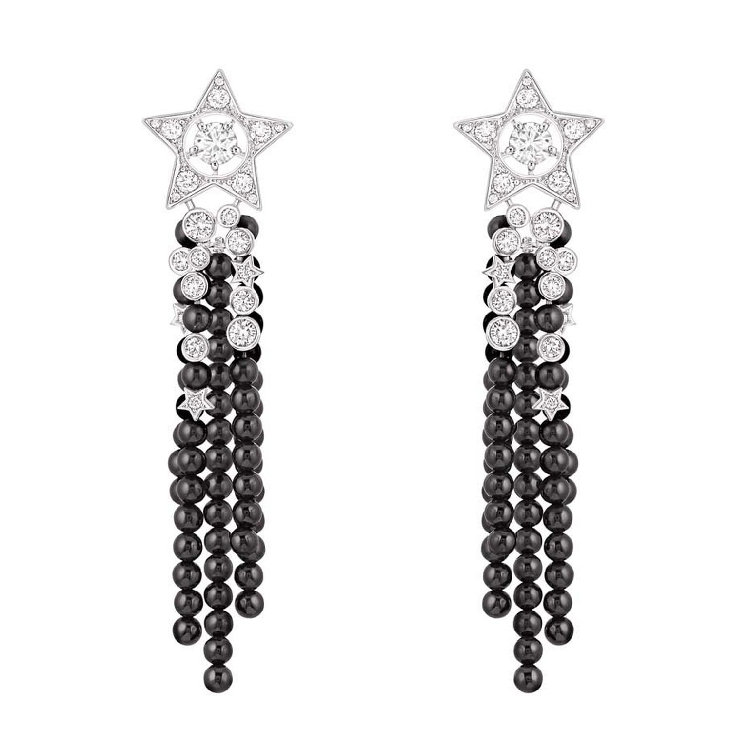 Chanel Nuit de Diamants earrings in white gold with diamonds and black spinel beads.